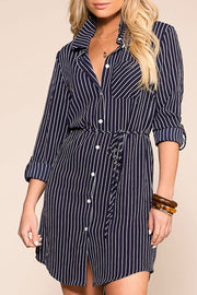 Do It Yourself Navy Stripe Button Up Dress | Mosaic