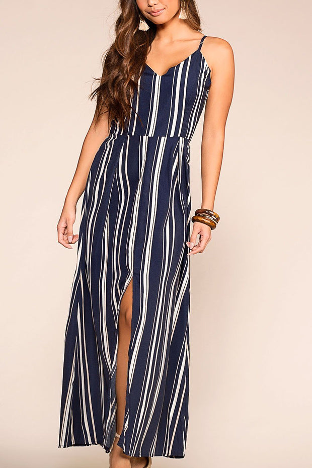 Crashing Waves Navy Striped Maxi Dress | Skylar 7