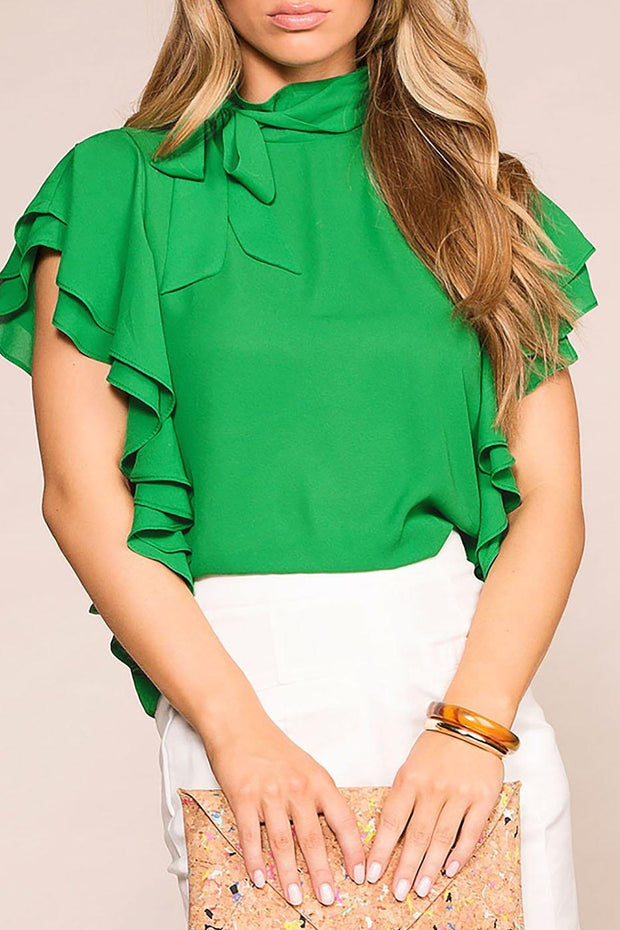 Make A Statement Green Ruffle Blouse | Toska