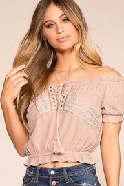 Michelle Taupe Off The Shoulder Top | Ambiance Apparel