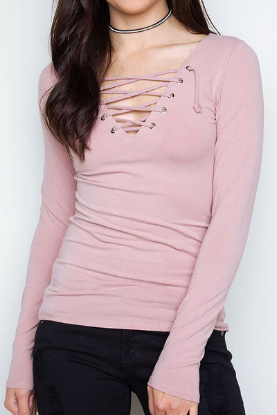 After Party Lace Up Top - Dusty Mauve | Hearts & Hips
