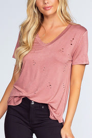 Alli Distressed Tee - Misty Pink | Active Basic