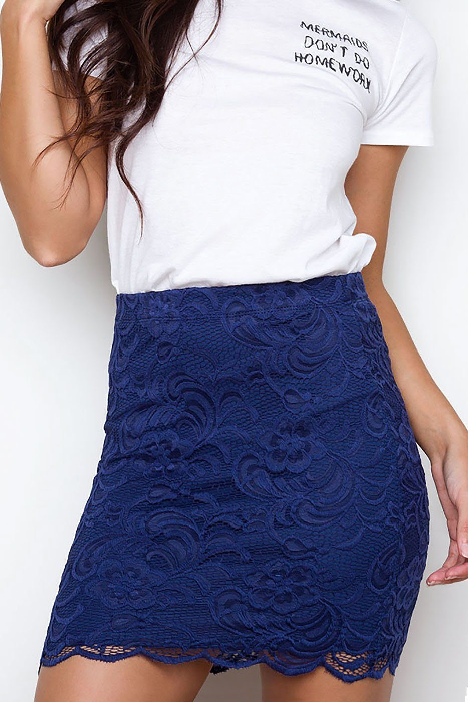 Atlanta Lace Skirt - Navy | Ambiance