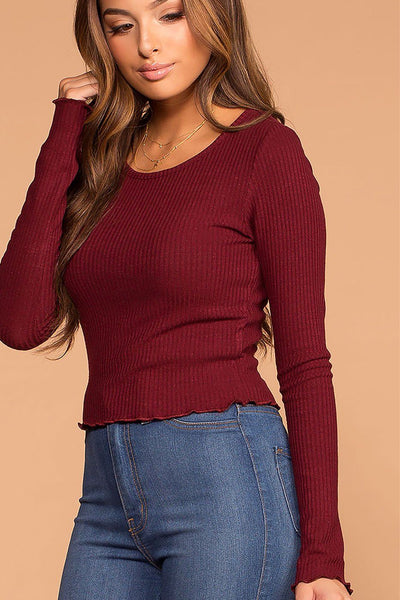 Afternoon Breeze Burgundy Long Sleeve Crop Top | Active Basic