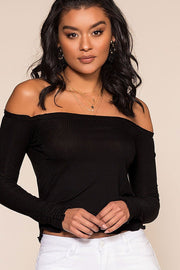 Ainsley Off The Shoulder Top - Black | Double Zero