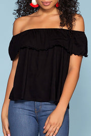 Alley Off The Shoulder Top - Black | Hyfve