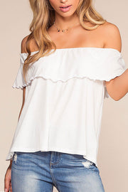 Alley Off The Shoulder Top - White | Hyfve