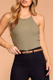 Bethany Sage Ribbed Knit Tank Top