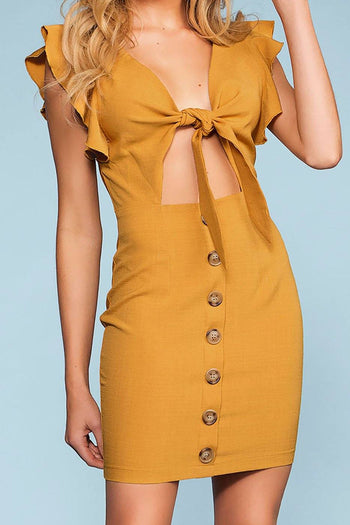 Bold And Beautiful Tie-Front Button Dress - Mustard | Shop Priceless
