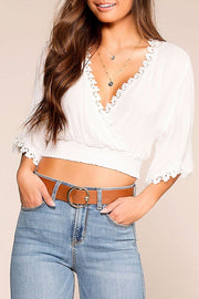Born Free White Bell Sleeve Crop Top | Noble U