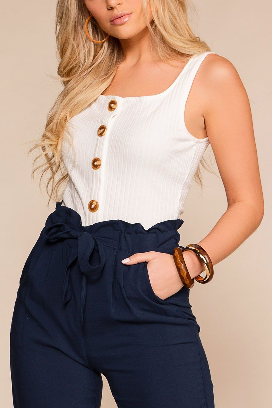 Brandie White Ribbed Button Crop Top | Hearts & Hips