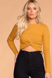 Brighton Mustard Twist Front Crop Top | iris