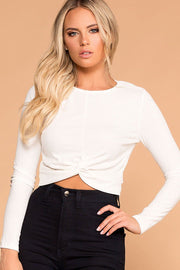 Brighton White Twist Front Crop Top | iris