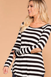 Callie Black Striped Elbow Patch Top | Zenana