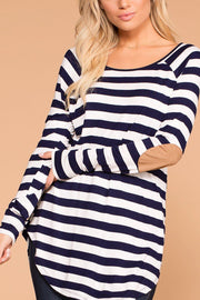 Callie Navy Striped Elbow Patch Top
