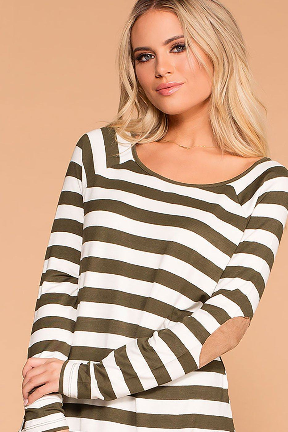 Callie Olive Striped Elbow Patch Top | Zenana
