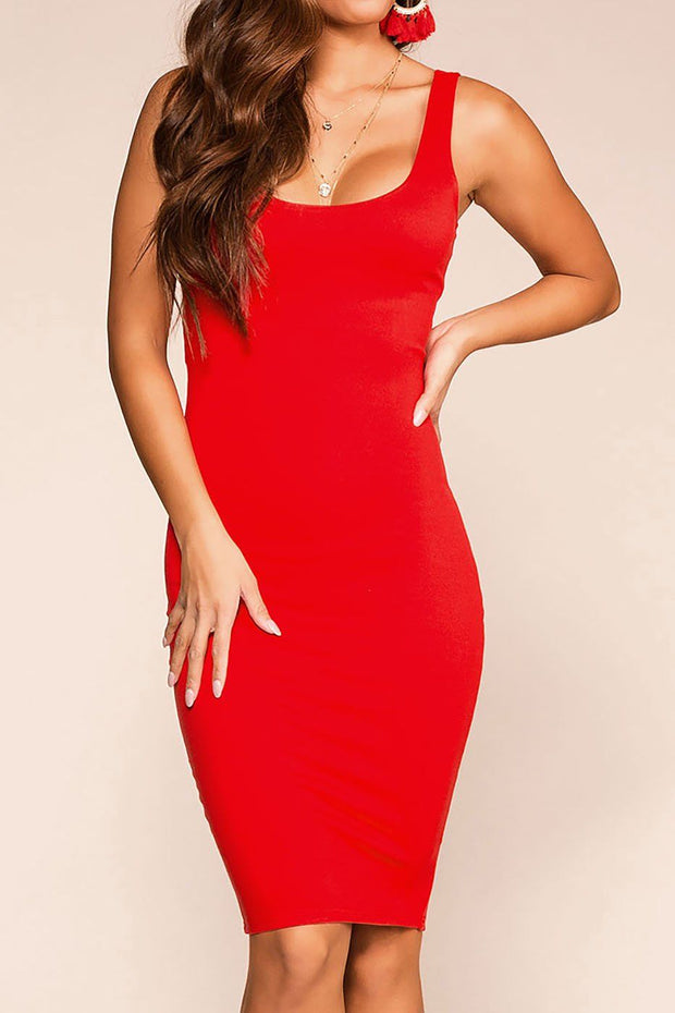 Cassandra Red Midi Bodycon Dress | French Kiss