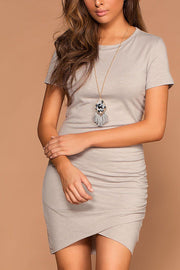 Cassi Grey Ruched T-Shirt Dress | E Pretty