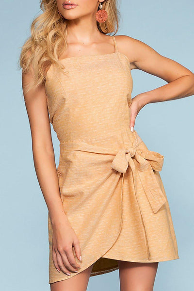 Cassi Wrap Front Dress - Mustard | naked zebra