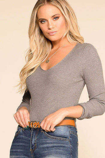 Charmer Grey Ribbed V-Neck Top | Hyped Unicorn