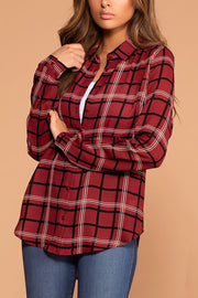 Chloe Burgundy Plaid Top | Active Basic