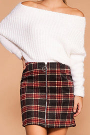 Clara Burgundy and Grey Plaid Skirt | Active Basic