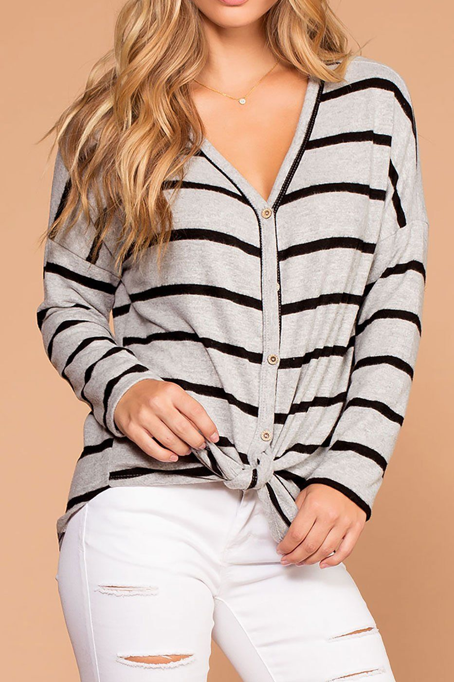 Colette Grey and Black Stripe Brushed Knit Tie-Front Sweater