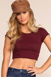 Danielle Crop Top - Burgundy | Better Be