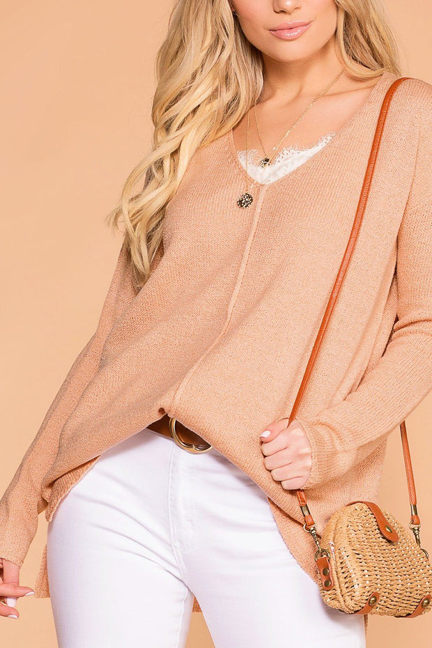 Debra Peach Knit V-Neck Loose Knit Sweater Top | Be Cool