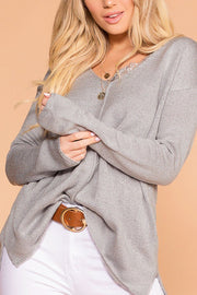 Debra Grey V-Neck Loose Knit Sweater Top | Be Cool