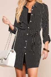 Do It Yourself Black Stripe Button Up Dress | Mosaic