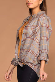 Easy Going Gray Button Up Tie-Front Plaid Top | Be Cool