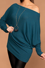Ellison Off The Shoulder Teal Knit Sweater Top | Double U
