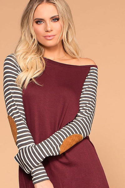 Erin Burgundy Stripe Sleeve Elbow Patch Top | Trend Notes