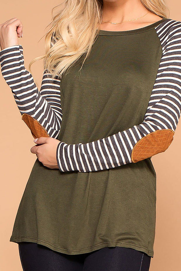 Erin Olive Stripe Sleeve Elbow Patch Top