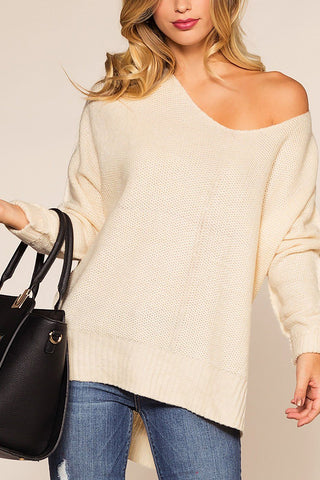 Maria Ivory Waffle Knit Round Neck Sweater Top
