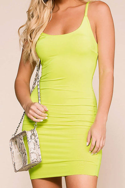 Flashing Lights Neon Lime Bodycon Dress | Sabora
