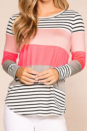 Fresh Start Neon Colorblock Striped Top | Bibi