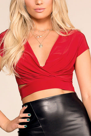 Brooklyn Red Buttoned Crop Top