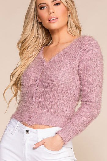Heartbeat Lavender Fuzzy Button-Up Cardigan Top | Iris