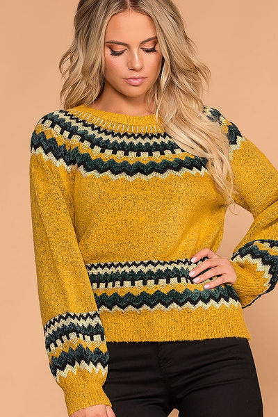 Heidi Mustard Chevron Knit Sweater