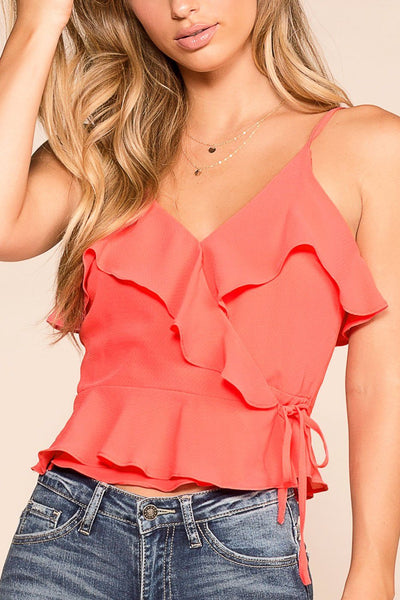 It's Fate Coral Wrap Top | idem ditto