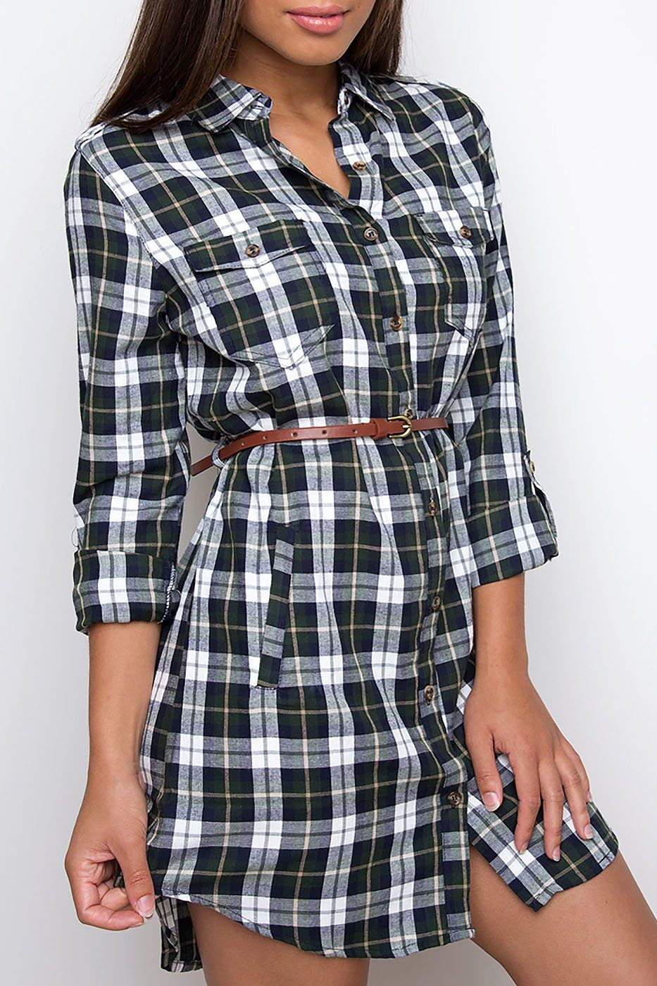 Jennie Plaid Dress - Olive | Shop Priceless