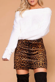Jade Brown Leopard Print Mini Skirt | Storia