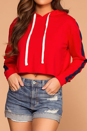Jess Red Stripe Hoodie Crop Sweatshirt Top | Hearts & Hips