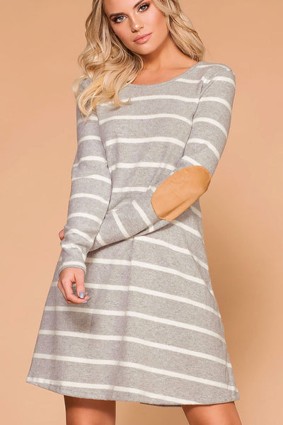 Joya Heather Grey Elbow Patch Shift Dress | Veveret