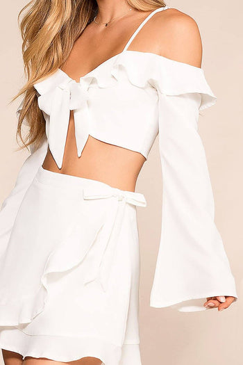 Just Dreamy White Bell Sleeve Crop Top | O. Vianca