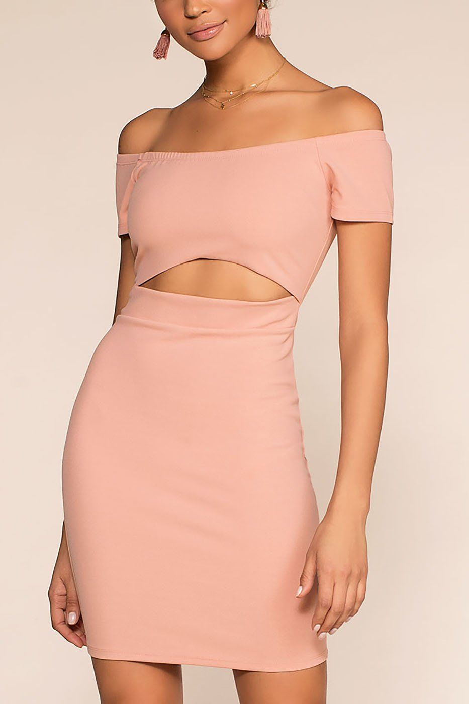 Just Whistle Bodycon Dress - Pink | Ambiance