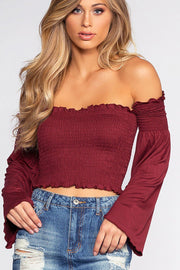 Kate Crop Top - Burgundy | bear dance