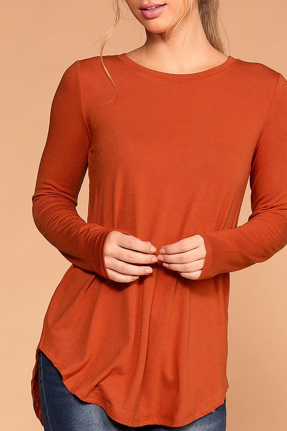 Krysha Copper Round Neck Long Sleeve Top